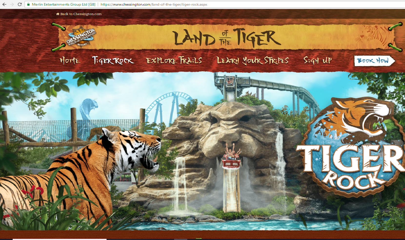 A screenshot of the Tiger Land ride at Chessington World of Adventures